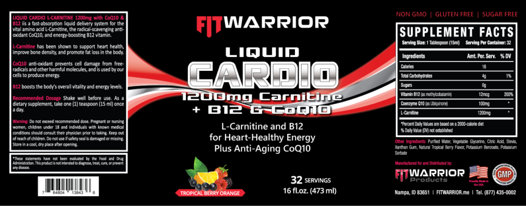 FIT Warrior Liquid CARDIO L-Carnitine label