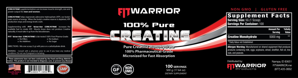 FIT Warrior CREATINE label
