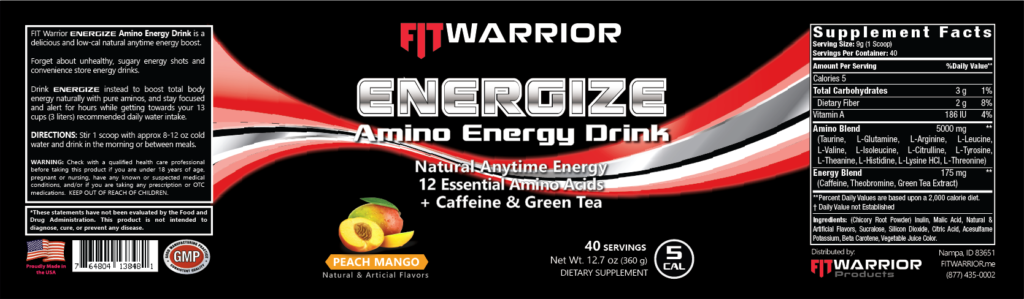 FIT Warrior ENERGIZE Natural Amino Energy Drink, Peach Mango label