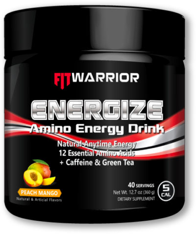 FIT WARRIOR ENERGIZE Amino Energy Drink, Peach Mango