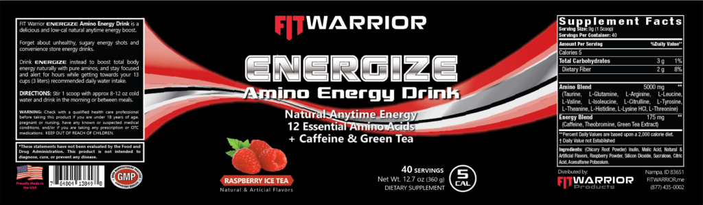 FIT Warrior ENERGIZE Natural Amino Energy Drink, Raspberry Ice Tea label