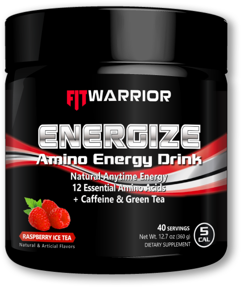 FIT WARRIOR ENERGIZE Amino Energy Drink, Raspberry Ice Tea