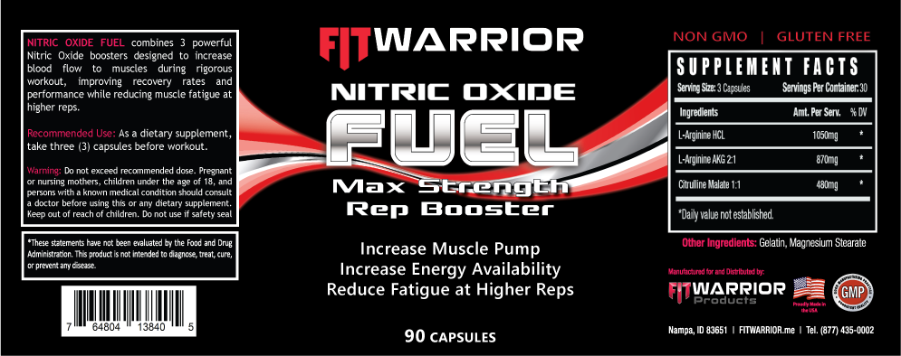 FIT Warrior Nitric Oxide FUEL Rep Booster label