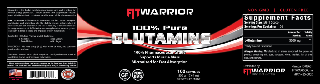 FIT Warrior GLUTAMINE label