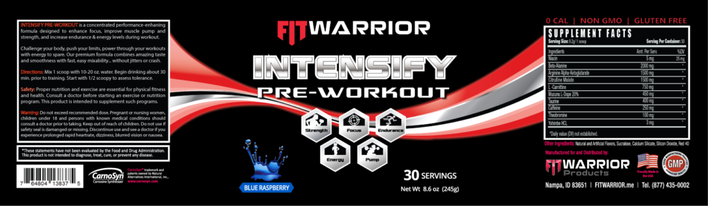 INTENSIFY Preworkout, Blue Raspberry, label