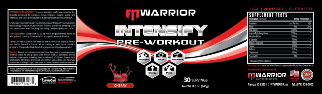 INTENSIFY Preworkout, Cherry, label