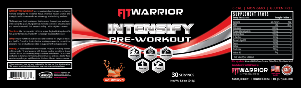 INTENSIFY Preworkout, Watermelon, label