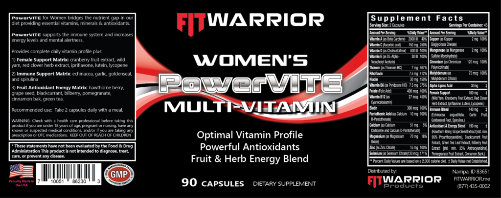 FIT Warrior PowerVITE Womens Multivitamin label