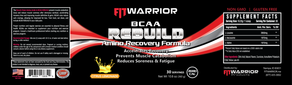 FIT Warrior BCAA REBUILD Amino Recovery label