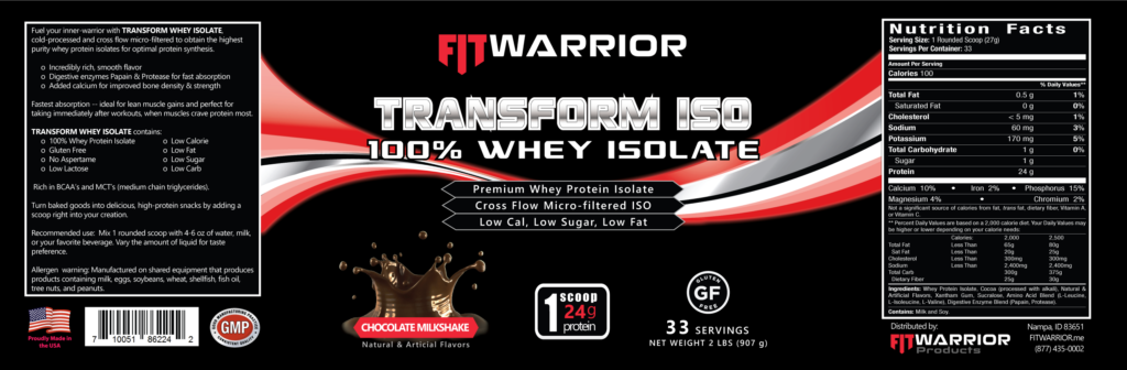 FIT Warrior TRANSFORM ISO, Chocolate, label