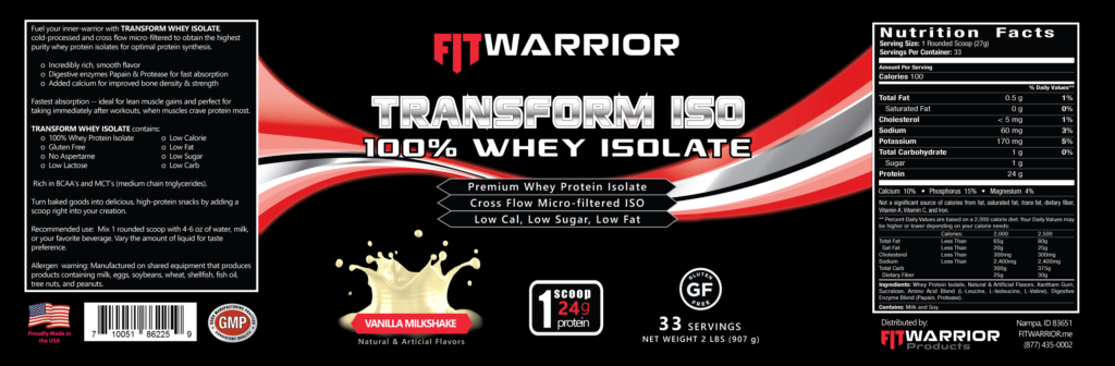 FIT Warrior TRANSFORM ISO, Vanilla, label