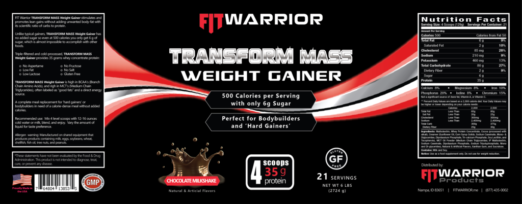 FIT Warrior TRANSFORM MASS Gainer Protein Chocolate label