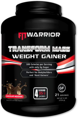FIT WARRIOR TRANSFORM Mass Gainer Whey Protein, Chocolate