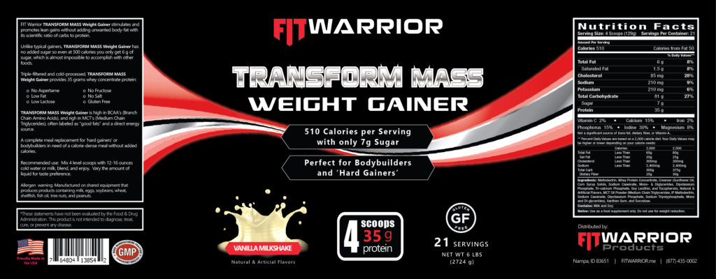 FIT Warrior TRANSFORM MASS Gainer Protein Vanilla label