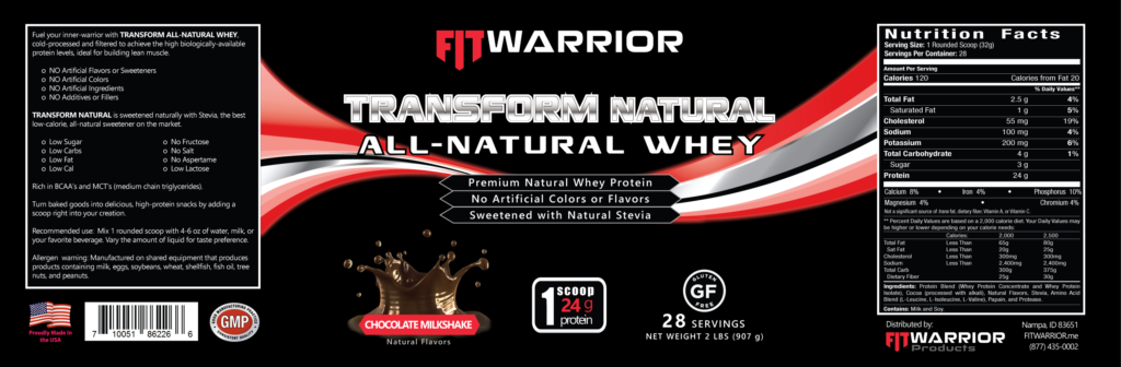 FIT Warrior TRANSFORM NATURAL Protein, Chocolate, label