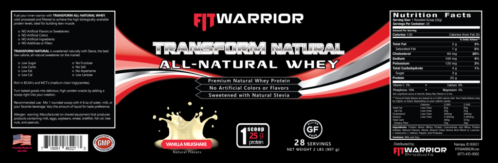 FIT Warrior TRANSFORM NATURAL Protein, Vanilla, label