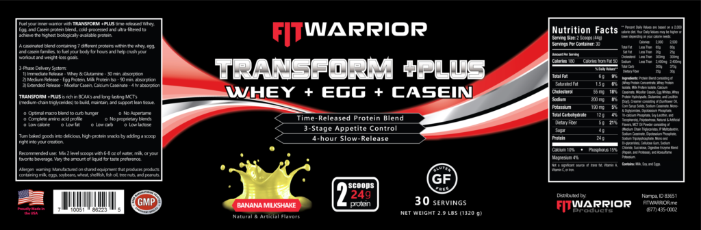 FIT Warrior TRANSFORM PLUS Protein, Banana Milkshake, label