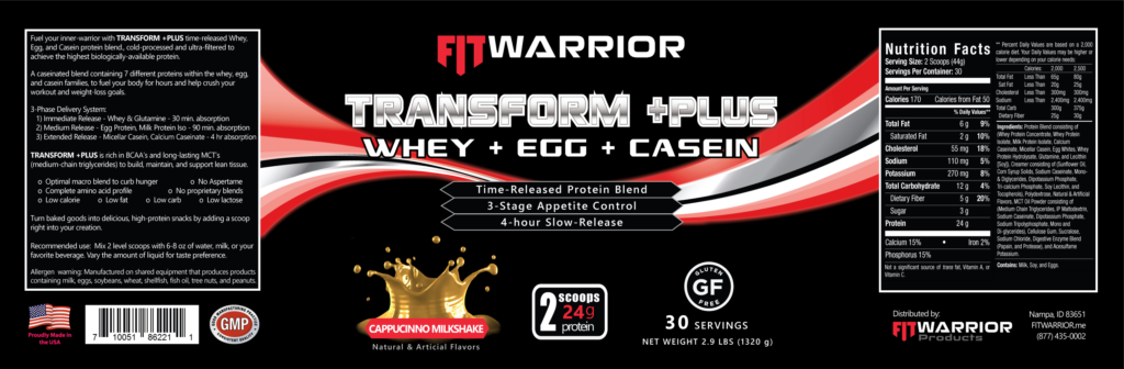 FIT Warrior TRANSFORM PLUS Protein, Cappucinno Milkshake, label