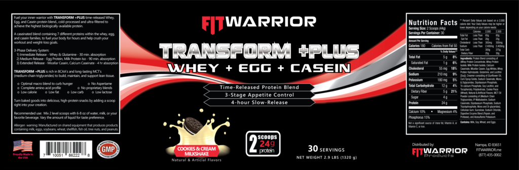 FIT Warrior TRANSFORM PLUS Protein, Cookies & Cream Milkshake, label
