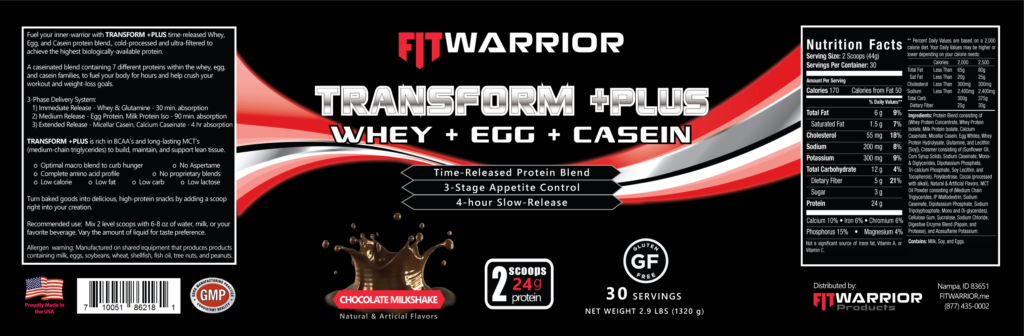 FIT Warrior TRANSFORM PLUS Protein, Chocolate Milkshake, label