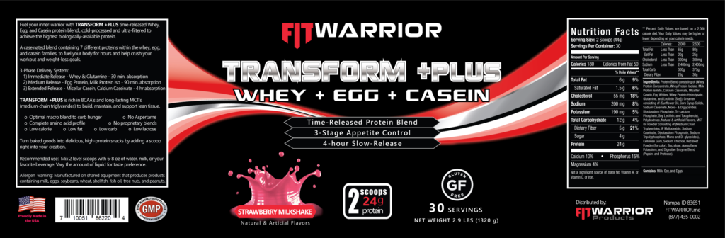 FIT Warrior TRANSFORM PLUS Protein, Strawberry Milkshake, label