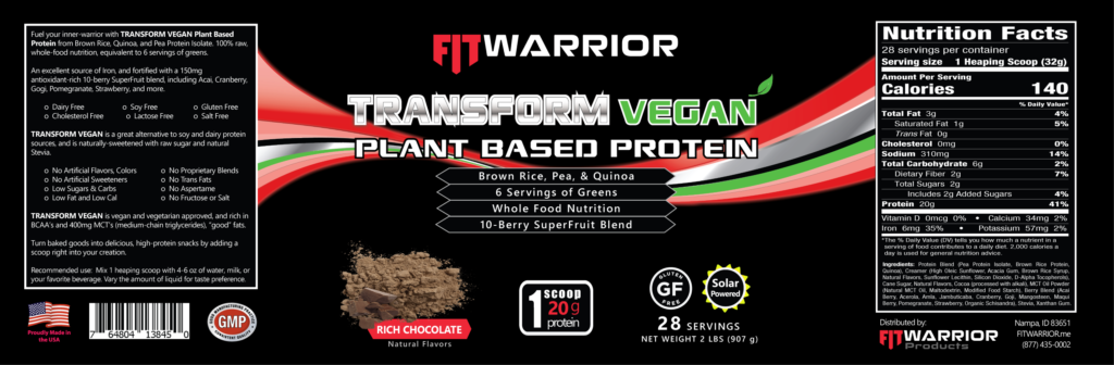 FIT Warrior TRANSFORM VEGAN, Chocolate, label