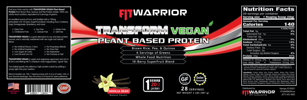 FIT Warrior TRANSFORM VEGAN, Vanilla, label