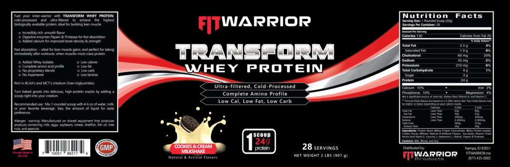 FIT Warrior TRANSFORM WHEY Protein, Cookies & Cream, label