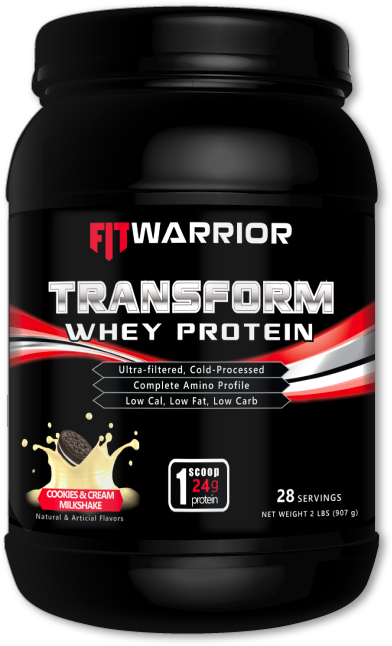FIT WARRIOR TRANSFORM Whey Protein, Cookies & Cream Milkshake