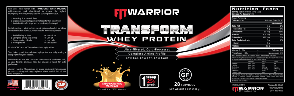 FIT Warrior TRANSFORM WHEY Protein, Cinnamon Swirl, label