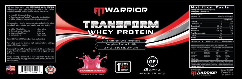 FIT Warrior TRANSFORM WHEY Protein, Strawberry, label