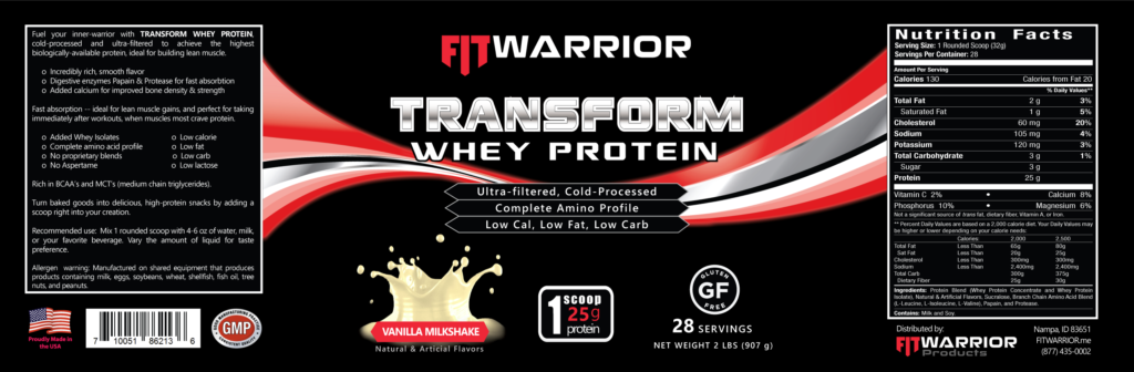 FIT Warrior TRANSFORM WHEY Protein, Vanilla, label
