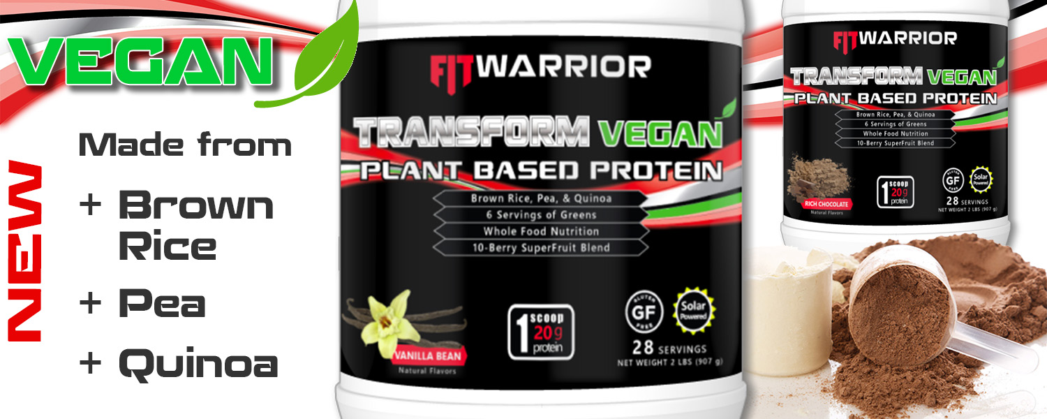 FIT Warrior TRANSFORM VEGAN Plant-based Protein with Brown Rice, Pea, and Quinoa